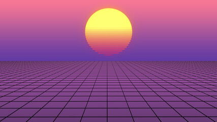 Wall Murals Candy pink Retro abstract background futuristic neon landscape 1980s style. Perspective grid in retro style. Digital cyber surface style of the 1980`s. 80s party. Palm trees and sun. Sunrise and sunset