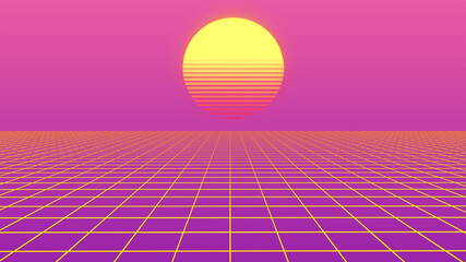 Retro abstract background futuristic neon landscape 1980s style. Perspective grid in retro style. Digital cyber surface style of the 1980`s. 80s party. Palm trees and sun. Sunrise and sunset