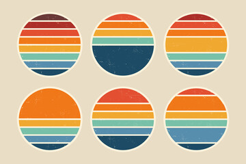 Fototapeta Sun retro badge and emblem set. Abstract ocean view background inside circles shapes with geometric vintage distressed style. Perfect for sticker, logo, icon, t-shirt or any purpose. obraz