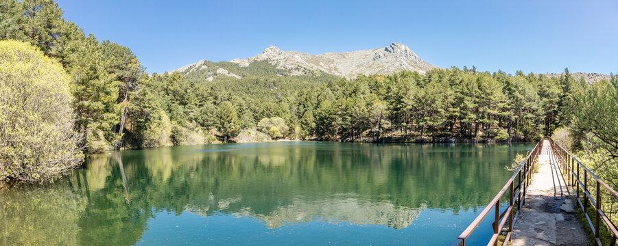 Hiking trail in the Barranca area in Navacerrada, Madrid, Spain