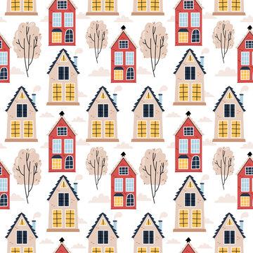Pattern in Scandinavian houses. Nice illustration. Cozy atmosphere. Autumn mood.