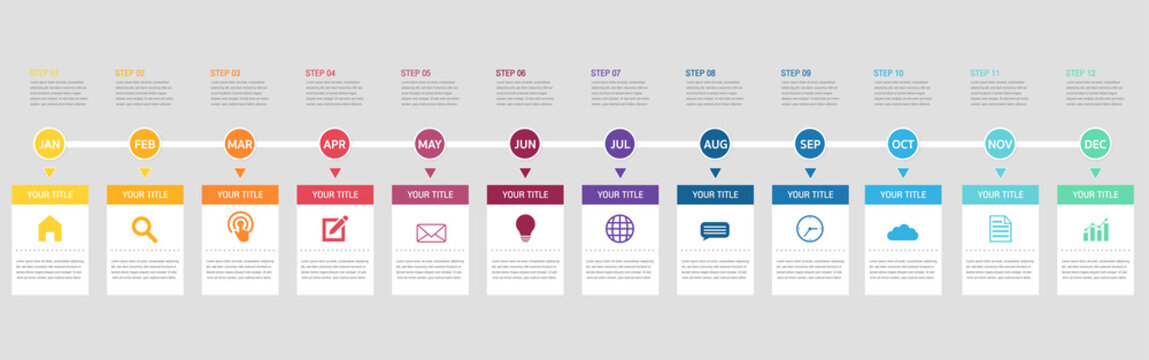 Abstract business infographics template with 12 circles and square on timeline diagrams.