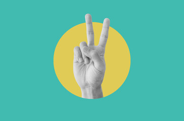 Obraz Digital collage modern art. Hand showing peace hand sign - fototapety do salonu