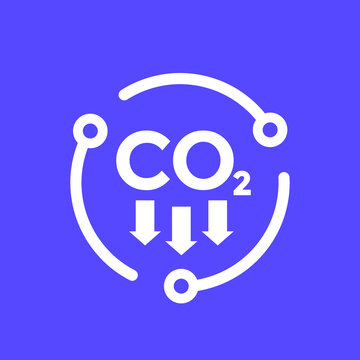 carbon dioxide emissions, reducing co2 vector icon