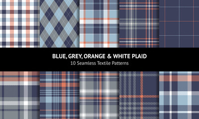 Obraz Plaid pattern set in blue, orange, grey, white. Seamless tartan plaid graphics for flannel shirt, scarf, skirt, tablecloth, blanket, duvet cover. Argyle, gingham, vichy, stitched windowpane checks. - fototapety do salonu