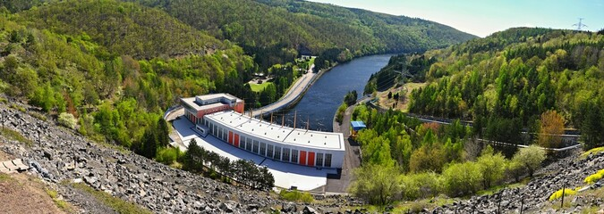 The Dalesice pumped - storage hydroelectric power station on the Jihlava river. Dam with landscape in the Czech Republic