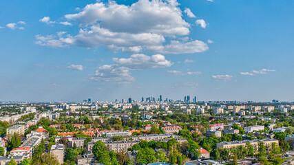 Warszawa, panorama centrum miasta z Bielan