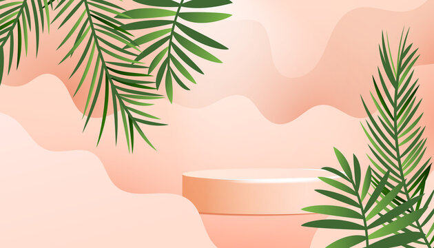 Realistic minimal product podium with green tropical palm leaves and soft wave isolated on a beige background. Blank background for posters, covers, wallpapers with place for text.