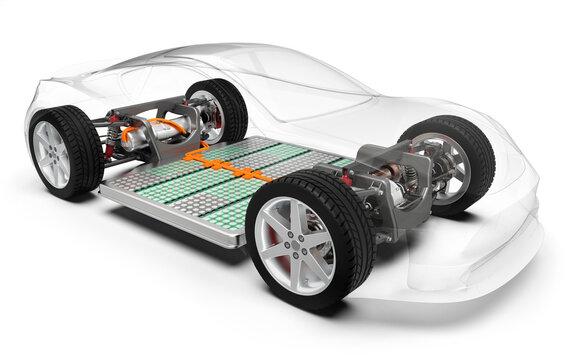 Elektroauto, Elektrofahrzeug mit Akkuantrieb, transparent dargestellter PKW, 3D Rendering