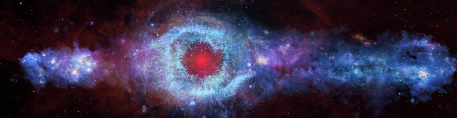 Fototapeta Panoramic space background, helix eye galactic. Elements of this image furnished by NASA. obraz