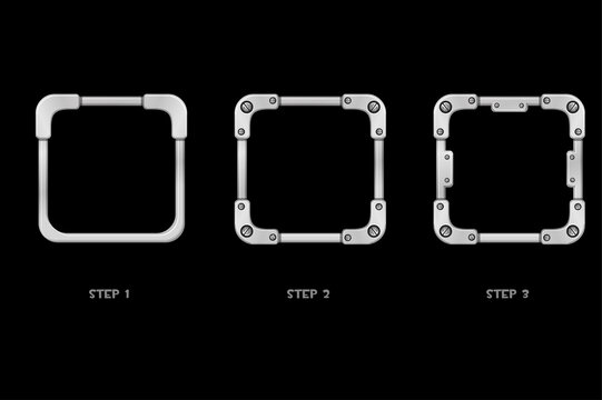 Metal frame avatar, iron square template 3 steps of drawing for ui game.