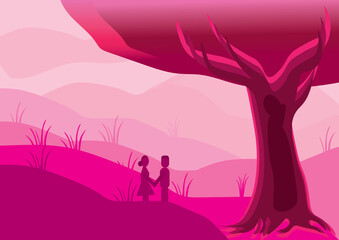 pink background image with girl and boy.