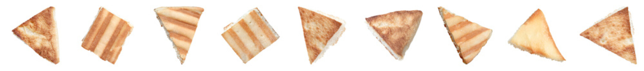 Set with delicious crispy pita chips on white background. Banner design