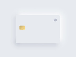 Neumorphism plastic bank credit card template with gold chip and shadow. Vector realistic object isolated on white background. Digital technology mockup. Contactless, wireless online payment concept.