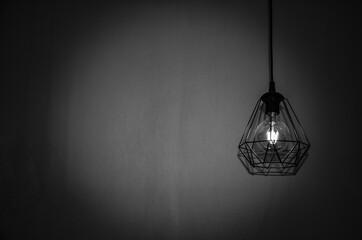 Fototapeta light bulb hanging on the wall obraz