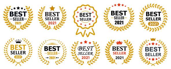 Obraz Set best seller icon design with laurel, best seller badge logo isolated - vector - fototapety do salonu