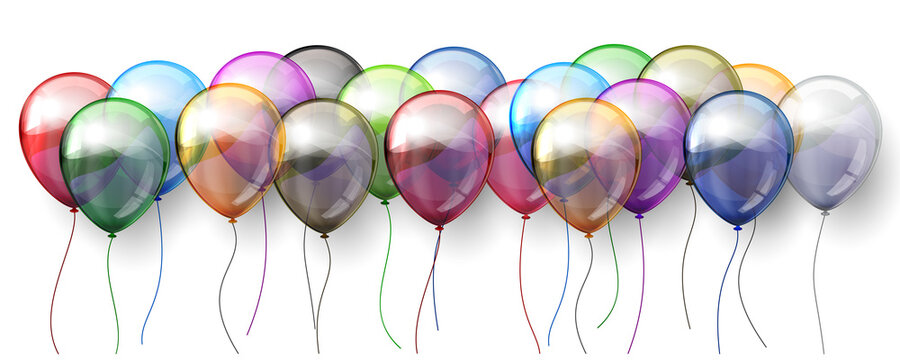 Group colored helium fly balloons isolated on white background - stock vector