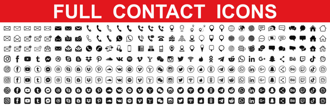 Kiev, Ukraine - May 15, 2021: Set contact icons, communication sign with social media logos. Editorial vector