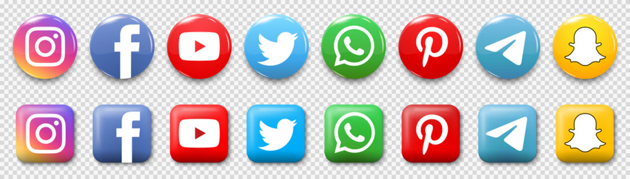 Kiev, Ukraine - May 15, 2021: Set popular new social media icons. Facebook, instagram, twitter, youtube, pinterest, whatsap, telegram, snapchat. Editorial vector
