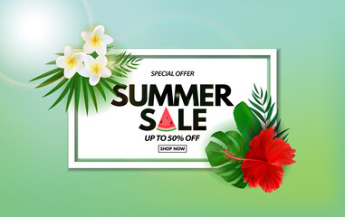 Summer sale poster. Natural Background with Tropical Palm Leaves, exotic plumeria and hibiscus flower. Vector Illustration - fototapety na wymiar