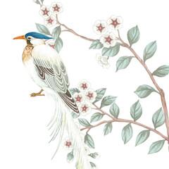 Lantern, bird, leaf, leopard print and watercolor flowers