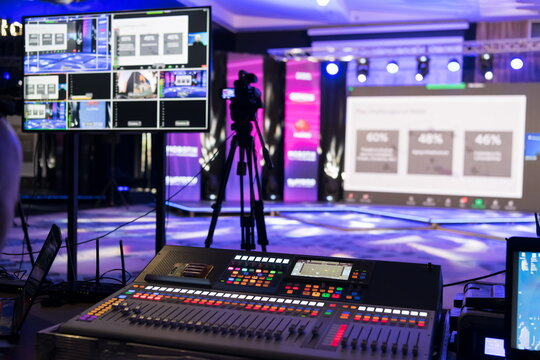 Live internet streaming of business conference meeting,online webinar or seminar via social network broadcast in new normal, covid outbreak,elearning.