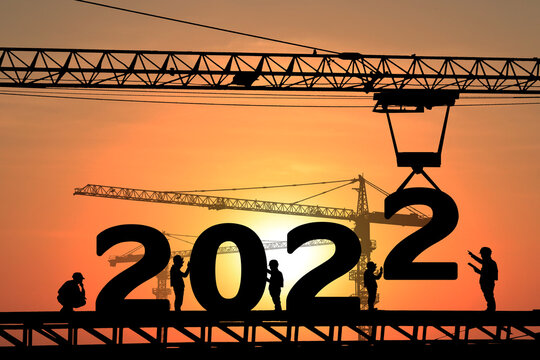 Silhouette staff works as a to prepare to welcome the new year 2022