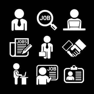 set of business management and human job resources vector icons collection of symbol, logo, pictogram linear flat simple ui stroke sign hand drawn lined graphic design