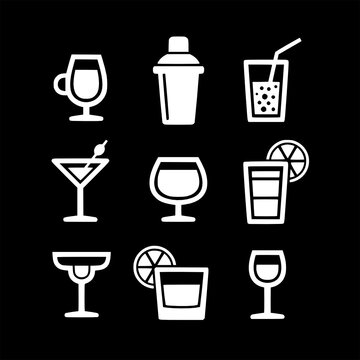set of cocktail vector icons collection of symbol, logo, pictogram linear flat simple ui stroke sign hand drawn lined graphic design