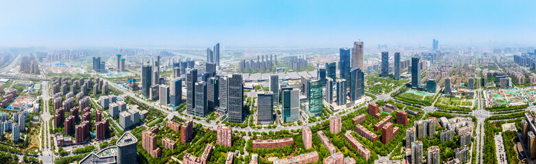 Aerial photography of the architectural landscape of the Hexi Central Business District in Nanjing - fototapety na wymiar