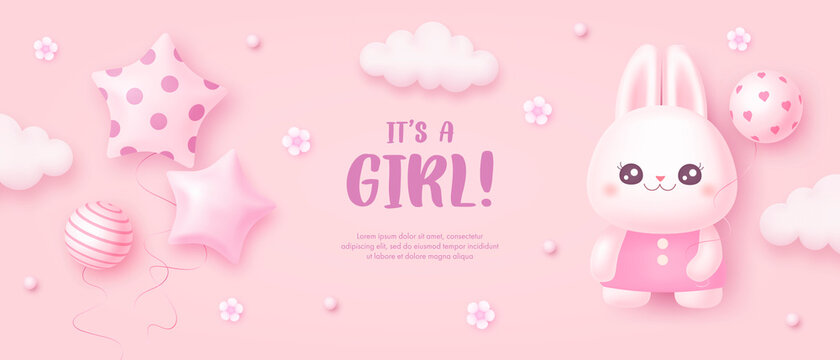 Baby shower invitation with cartoon rabbit, helium balloon, clouds and flowers on pink background. It's a girl. Vector illustration