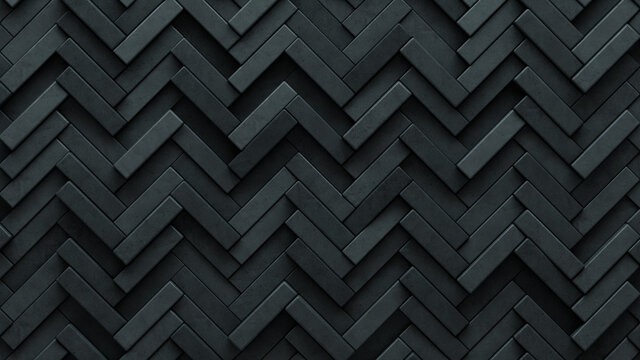 Concrete Tiles arranged to create a 3D wall. Semigloss, Futuristic Background formed from Herringbone blocks. 3D Render
