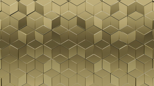 Gold Tiles arranged to create a 3D wall. Luxurious, Diamond shaped Background formed from Glossy blocks. 3D Render