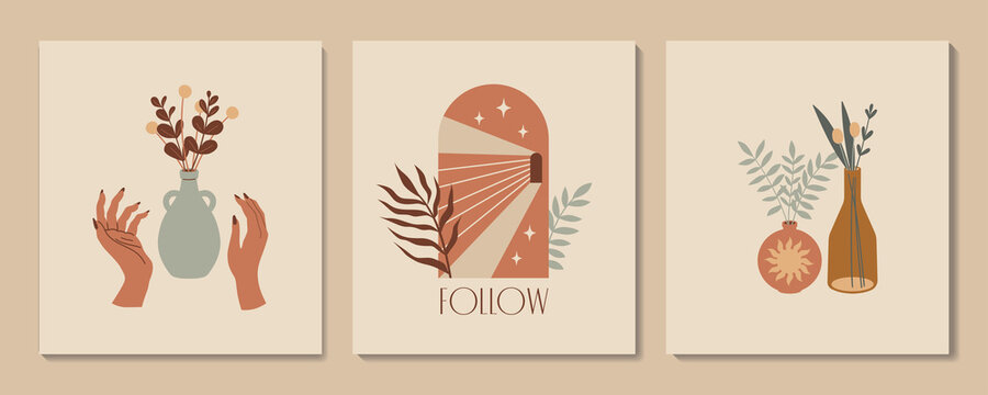 Vector modern minimalist prints. Abstract aesthetic illustration and bohemian contemporary wall art, interior decoration.  Poster with hands, vases, arch and tropic plants