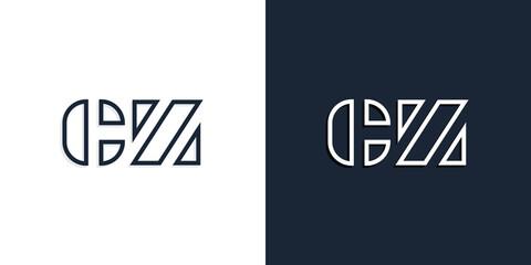 Fototapeta Abstract line art initial letters CZ logo. obraz