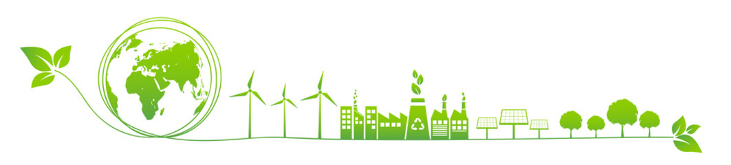 Fototapeta Banner design for World environment day, Sustainability development, Ecology friendly and Green Industries Business concept, Vector illustration obraz