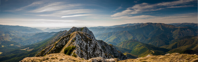 Hiking on Piatra Craiului mountain ridge
