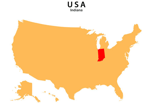 Indiana State map highlighted on USA map. Indiana  map on United state of America.