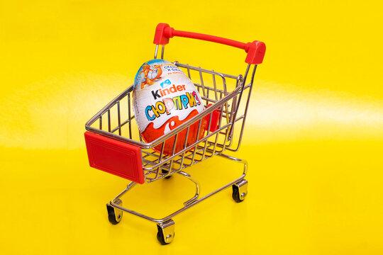 BELARUS, NOVOPOLOTSK -16 MAY, 2021: Kinder surprise in the shopping cart