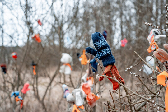 forgotten and lost gloves and mittens on the bare branches of winter trees