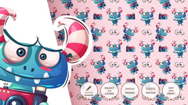 Funny monster illustration - seamless pattern