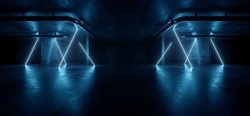 Fototapeta Neon Warehouse Laser Blue Glowing Vibrant Electric Concrete Cement Underground Showroom Tunnel Corridor Parking Grunge Asphalt 3D Rendering obraz
