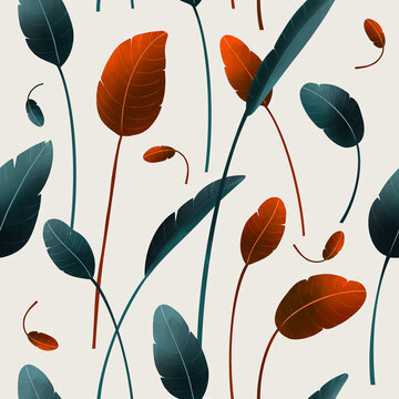 Seamless floral pattern from exotic jungle plants. Hand drawn vector pattern
