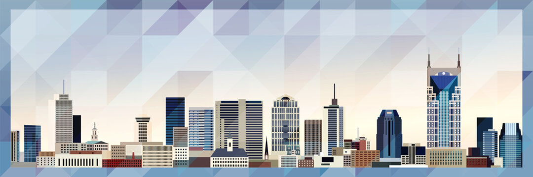 Nashville skyline vector colorful poster on beautiful triangular texture background