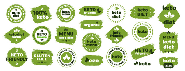 Fototapeta Keto friendly diet nutrition vector badge set on green organic texture isolated on white-ketogenic diet sign, keto diet menu. Vegetables icon eco friendly diet with leaves. 10 eps obraz