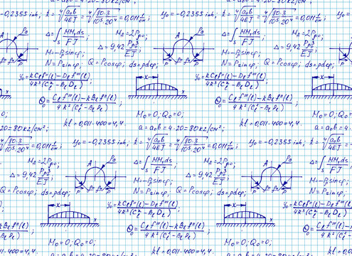 Education and scientific background. Math seamless pattern with the equations, figures, schemes, plots and other calculations on notebook page. Handwritten vector Illustration.