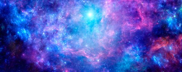 Obraz Bright purple cosmic background with nebula and stardust - fototapety do salonu