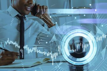 Obraz African American businessman or stock trader analyzing stock gra - fototapety do salonu