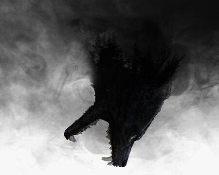 3d illustration of a Werewolf with double exposure effect revealing forest
