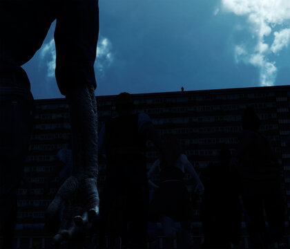 3d illustration of a Zombie Horde running toward a Tower Block with a lone figure stood on the roof watching